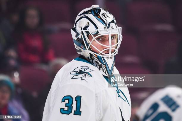 Look on San Jose Sharks goalie Martin Jones at warmup before the San Jose Sharks versus the Montreal Canadiens game on October 24 at Bell Centre in...