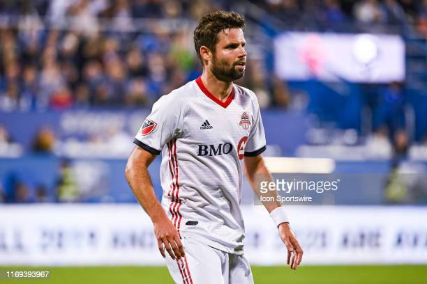 Look on Toronto FC defenceman Drew Moor during the Toronto FC versus the Montreal Impact game on September 18 at Stade Saputo in Montreal QC