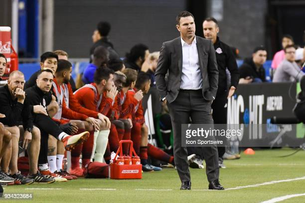 Look on Toronto FC head coach Greg Vanney during the Toronto FC versus the Montreal Impact game on March 17 at Olympic Stadium in Montreal QC