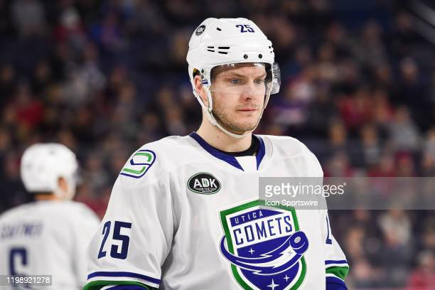 Look on Utica Comets defenceman Brogan Rafferty during the Utica Comets versus the Laval Rocket game on February 05 at Place Bell in Laval QC