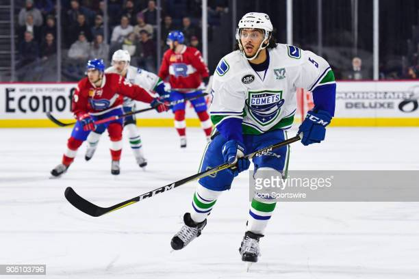 Look on Utica Comets defenceman Jalen Chatfield during the Utica Comets versus the Laval Rocket game on January 10 at Place Bell in Laval QC