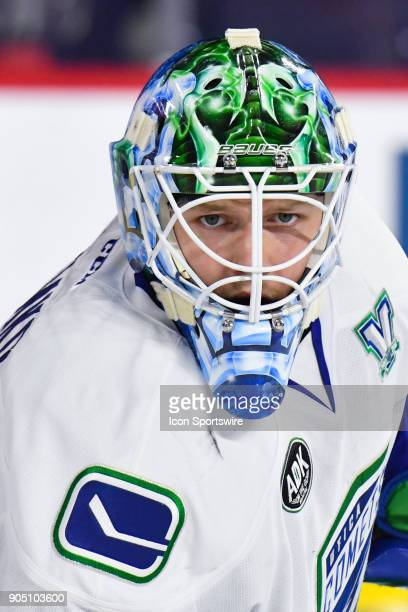 Look on Utica Comets goalie Thatcher Demko during the Utica Comets versus the Laval Rocket game on January 10 at Place Bell in Laval QC
