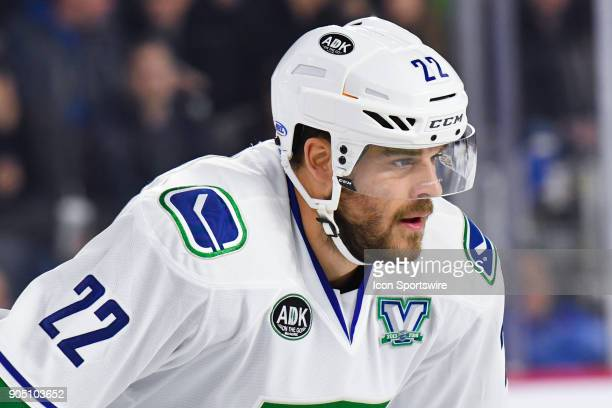 Look on Utica Comets left wing David Dziurzynski during the Utica Comets versus the Laval Rocket game on January 10 at Place Bell in Laval QC
