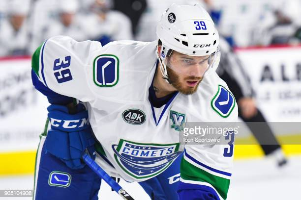Look on Utica Comets left wing Marco Roy during the Utica Comets versus the Laval Rocket game on January 10 at Place Bell in Laval QC