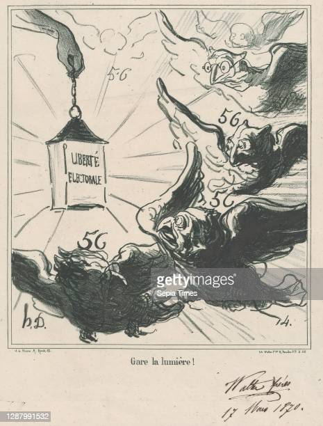 Look out for the light!, from 'News of the day,' published in Le Charivari, April 5 'News of the day' , Honore Daumier , Lithograph and pen and brown...
