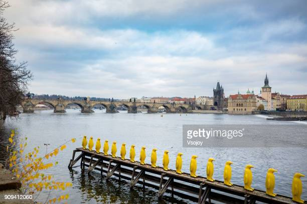 look out for the yellow penguins over vltava river at kampa park, prague, czech republic - installation art stock pictures, royalty-free photos & images