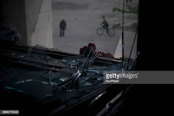 Look outside the burnt trade union building in Odessa, Ukraine, Wednesday May 7, 2014. More than 40 people died in the riots, which some from gunshot...