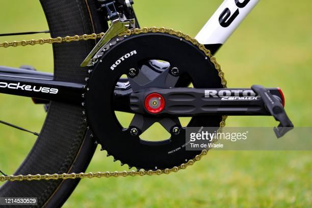 Look Pedal / Rotor Crankarm / Rotor Crankset / Chain / Romain Bardet of France and Team AG2R La Mondiale / Eddy Merckx Bike / Detail view / during...