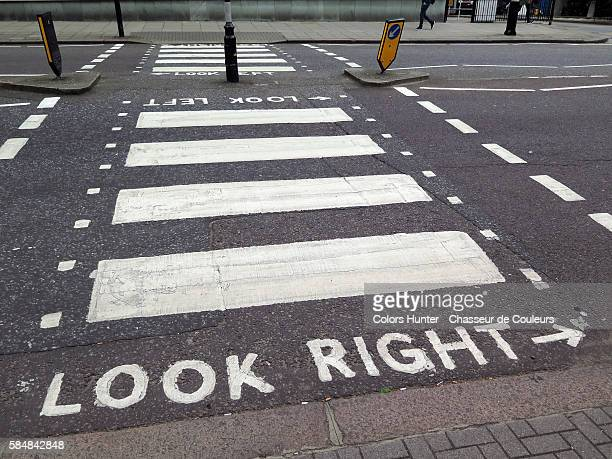 look right london - pedestrian crossing sign stock photos and pictures