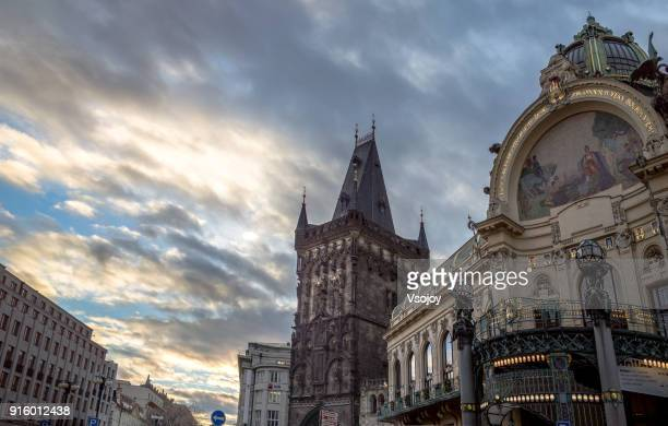 look up the municipal house and surrounding, prague, czech republic - vsojoy stock pictures, royalty-free photos & images