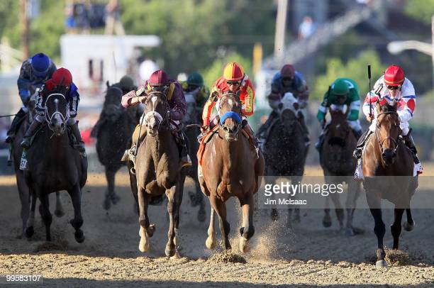 Lookin At Lucky ridden by Martin Garcia holds off First Dude ridden by Ramon Dominguez and Jackson Bend ridden by Mike Smith down the homestrech to...