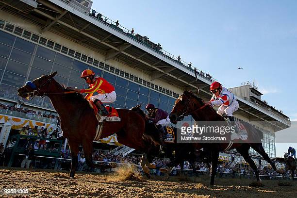 Lookin at Lucky riden by Martin Garcia crosses the finish lin ahead of First Dude riden by Ramon Dominguez and Jackson Bend riden by Mike Smith...