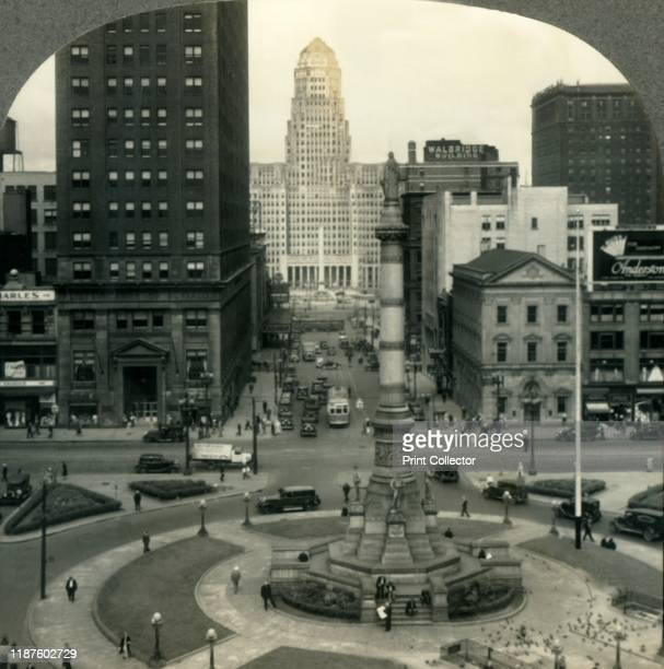 Looking across Lafayette Square from the Public Library to McKinley Monument and City Hall Buffalo NY' circa 1930s Civil War monument in Lafayette...
