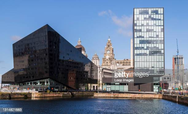Looking across one the docks in Liverpool towards the modern Mann Island complex.