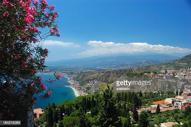 Looking across the city of Taormina