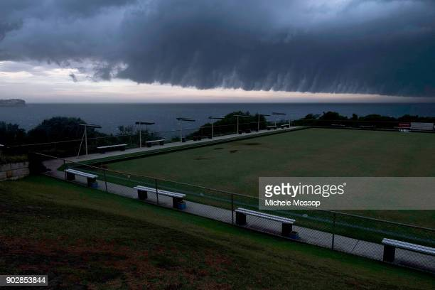 Looking across the Clovelly Bowling Club to the north end of Bondi Beach as a storm front sweeps up the NSW coast on January 9 2018 in Sydney...