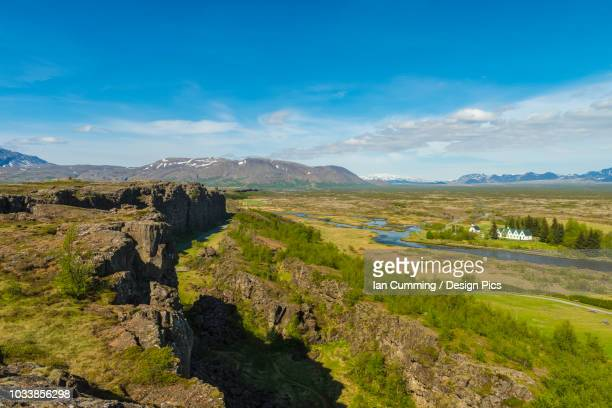 looking across the continental divide at thingvellir - thingvellir national park stock photos and pictures