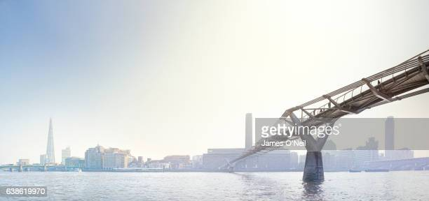 looking across the thames in london with foreground millenium bridge - downtown stock pictures, royalty-free photos & images