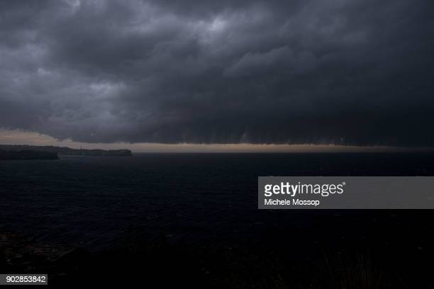 Looking across to the north end of Bondi Beach as a storm front sweeps up the NSW coast on January 9 2018 in Sydney Australia Heavy wind rain and...