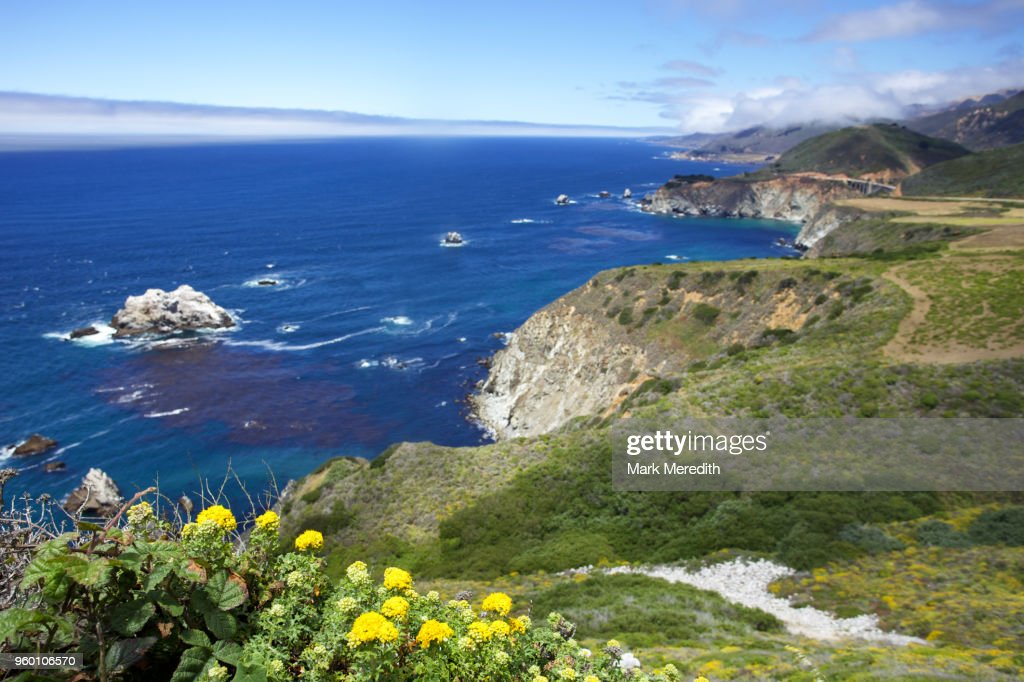 Looking along coastal route of the Pacific Coast Highway : Stock-Foto