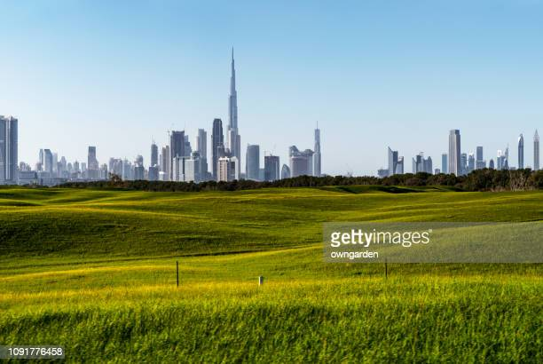 looking along grassland towards the business district - natural parkland stock pictures, royalty-free photos & images