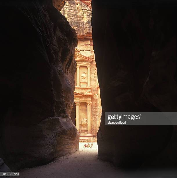 Looking at Ancient City of Petra Through Two Cliffs