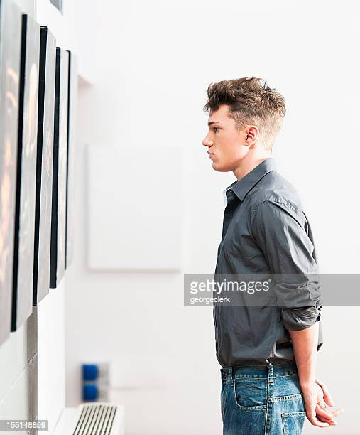 Looking at Art Gallery Pictures