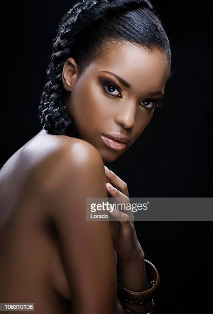 looking at camera young black model - fine art portrait stock photos and pictures