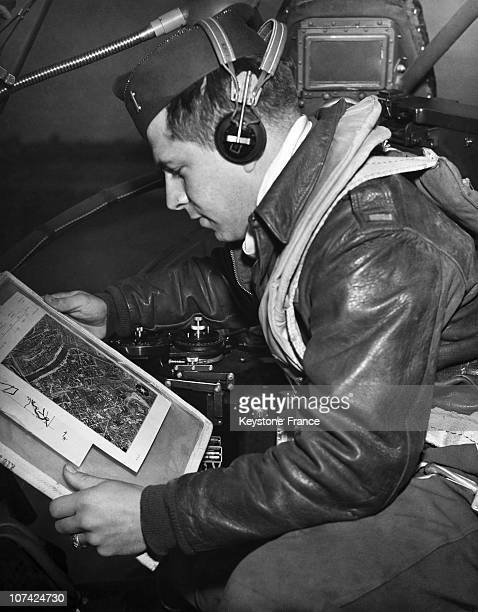 Looking At His Picture Of His Target Lieutnant Louis A Dentoni Pilot Of The Bombardier Lulu Belle