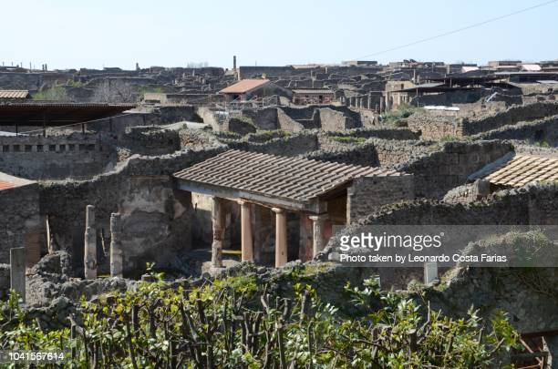 looking at pompeii from above - pompeii stock photos and pictures