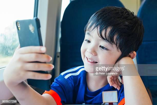 Looking at smart phone
