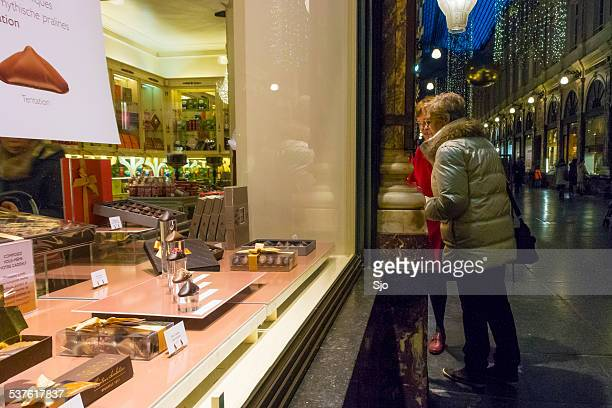 Looking at the chocolate shop in Brussels
