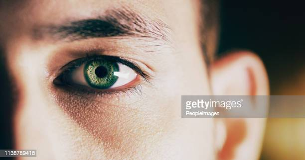 looking at the future - green eyes stock pictures, royalty-free photos & images