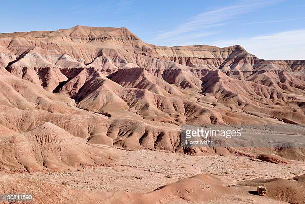 Looking at the hills of the Painted Desert in Tuba City, Highway 160, Arizona, USA