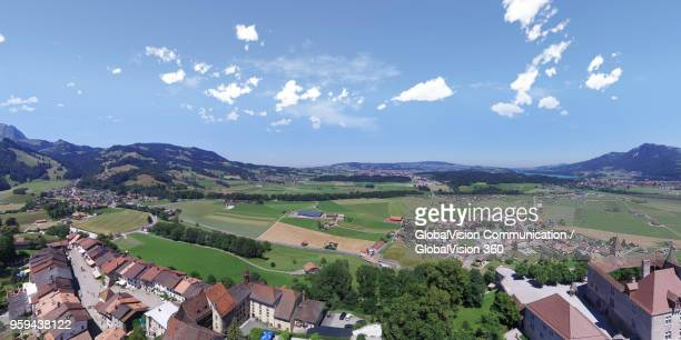 Looking at the View of Medieval Town in Gruyere, Fribourg, Switzerland
