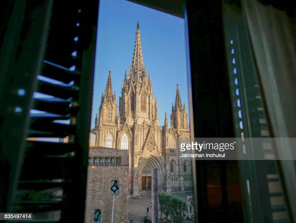 Looking Barcelona Cathedral Through Window