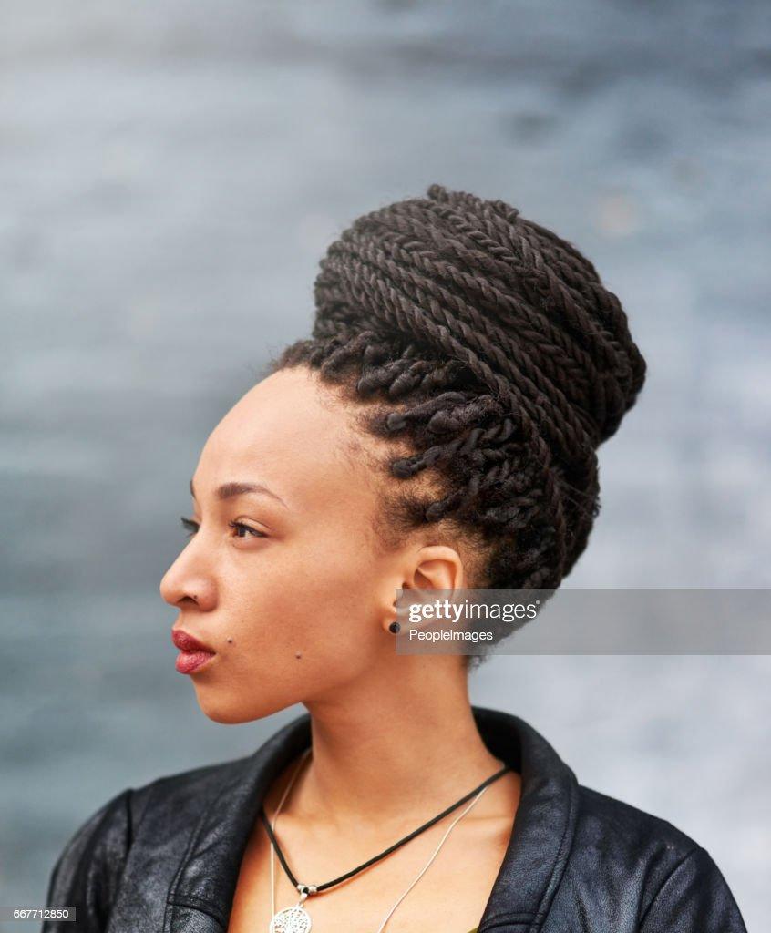Looking beautiful in her braided bun : Stock Photo