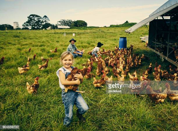 Looking cheerful on the chicken farm