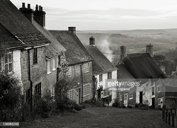 Looking down at a row of cottages on Gold Hill in Shaftesbury Village, Dorset.