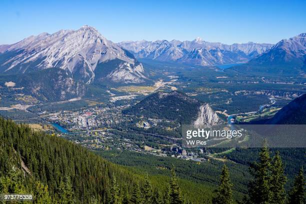 Looking down at Banff National Park from Sulphur Mountain.
