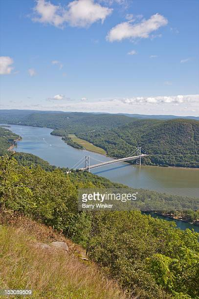 looking down at bridge, water and mountains. - bear mountain bridge stock pictures, royalty-free photos & images