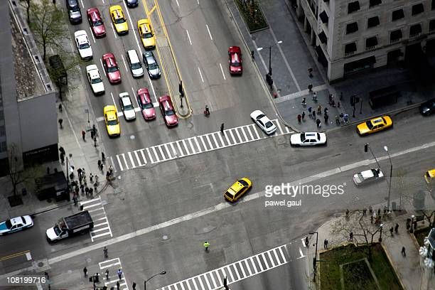 Looking Down At Downtown Intersection with Cars