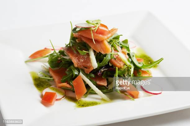 looking down at gourmet health food: smoked salmon salad - appetiser stock photos and pictures