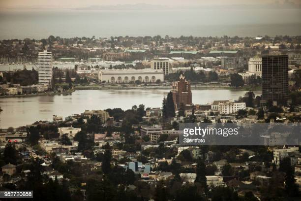 looking down at lake merritt from oakland hills - oakland california stock pictures, royalty-free photos & images