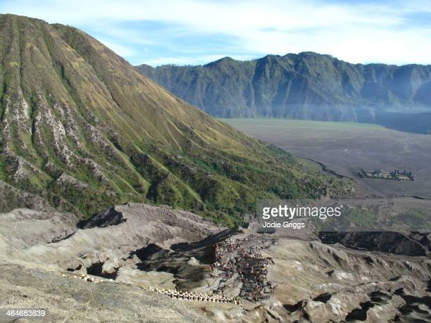 Looking down at large volcanic crater in Java Indonesia
