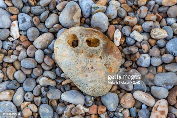 looking down at pebbles on a beach, with a stone with holes in laying on top - alum bay stock pictures, royalty-free photos & images