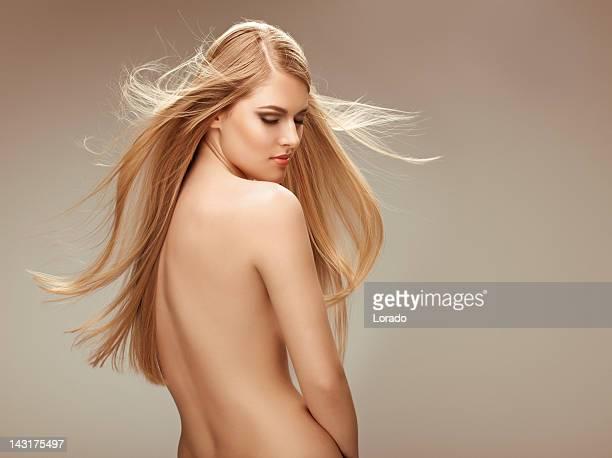 looking down blond hair woman