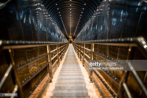 looking down from steps in a tianmen mountain escalator complex, hunan (湖南省) china - tianmen stock pictures, royalty-free photos & images