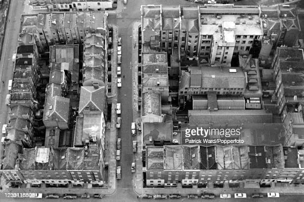 Looking down from the Post Office Tower on Fitzrovia, an area of central London, circa June 1969. From a series of images to illustrate the many...