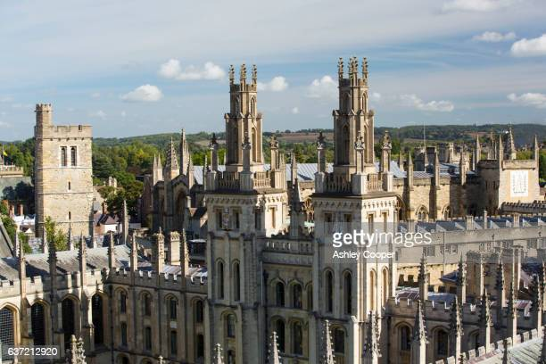 Looking down from the tower of the University Church of St Mary the Virgin onto All Saints College, Oxford, UK.